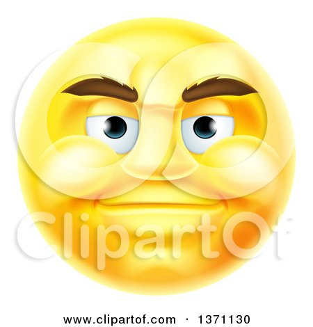 Clipart of a 3d Yellow Male Smiley Emoji Emoticon Face - Royalty Free Vector Illustration by AtStockIllustration
