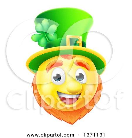 Clipart of a 3d Yellow St Patricks Day Leprechaun Smiley Emoji Emoticon Face - Royalty Free Vector Illustration by AtStockIllustration