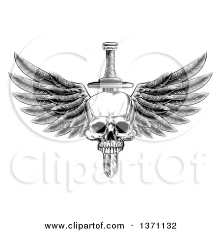 Black and White Vintage Engraved or Woodcut Dagger Through a Winged Skull Posters, Art Prints