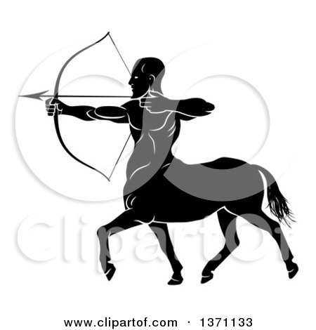 Clipart of a Black and White Centaur Archer Aiming to the Left - Royalty Free Vector Illustration by AtStockIllustration