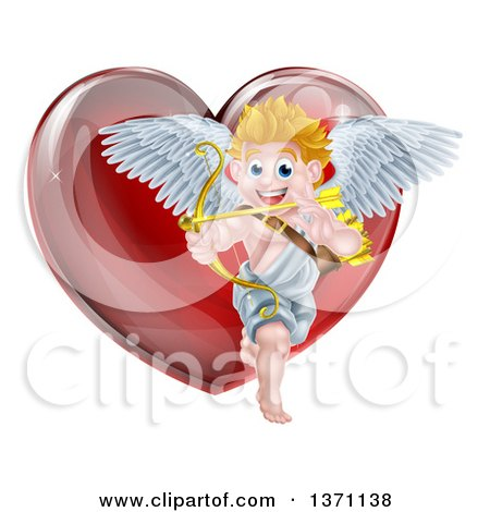 Clipart of a Happy Blond Caucasian Valentines Day Cupid Aiming an Arrow in Front of a Shiny Red Heart - Royalty Free Vector Illustration by AtStockIllustration