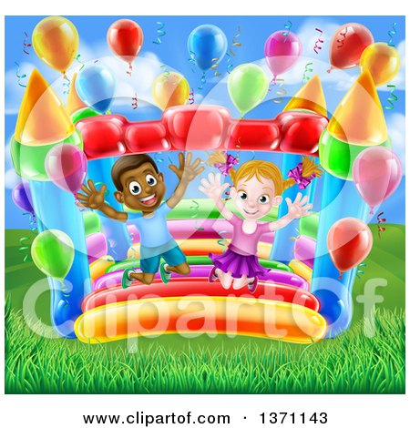 Clipart of a Cartoon Happy White Girl and Black Boy Jumping on a Bouncy House Castle at a Party - Royalty Free Vector Illustration by AtStockIllustration
