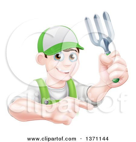 Clipart of a Young Brunette White Male Gardener in Green, Holding a Garden Fork and Pointing over a Sign - Royalty Free Vector Illustration by AtStockIllustration