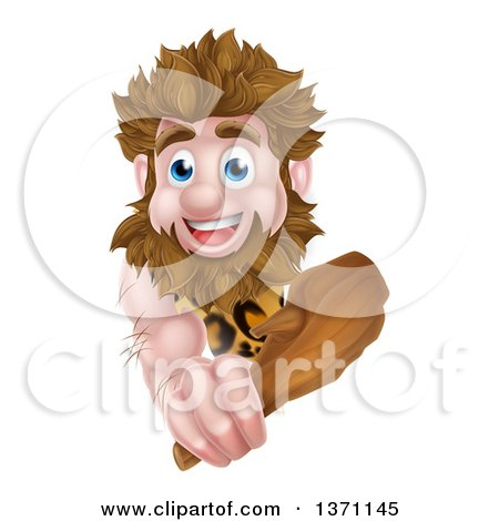 Clipart of a Cartoon Muscular Happy Caveman Holding a Club Around a Sign - Royalty Free Vector Illustration by AtStockIllustration