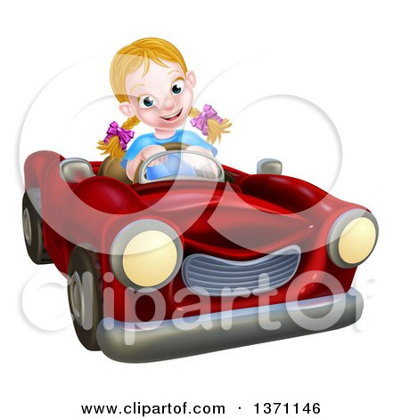 Clipart of a Happy Blond White Girl Driving a Red Convertible Car - Royalty Free Vector Illustration by AtStockIllustration