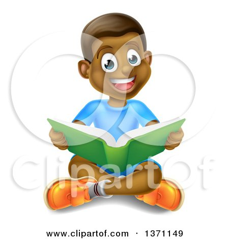 Clipart of a Happy Black Boy Sitting on the Floor and Reading a Book - Royalty Free Vector Illustration by AtStockIllustration
