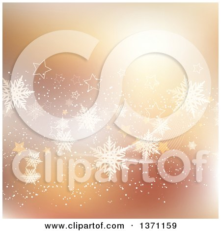 Clipart of a Golden Snowflake and Star Wave Background - Royalty Free Vector Illustration by KJ Pargeter