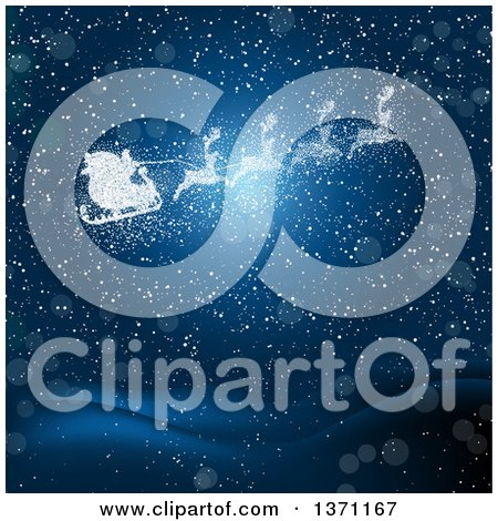 Clipart Of A Santas Sleigh And Magic Reindeer Made Of Stars Over Blue With Snow And Flares Royalty Free Vector Illustration
