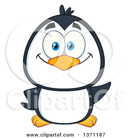 Clipart of a Happy Penguin Waving - Royalty Free Vector Illustration by Hit Toon