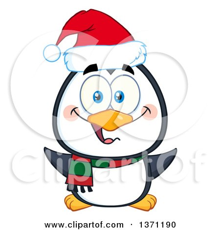 Clipart of a Happy Christmas Penguin Wearing a Santa Hat - Royalty Free Vector Illustration by Hit Toon