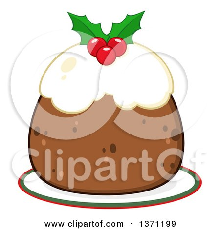 Clipart of a Christmas Plum Pudding Dessert - Royalty Free Vector Illustration by Hit Toon