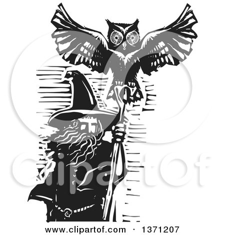 Black and White Woodcut Wizard, Merlin, with an Owl Posters, Art Prints