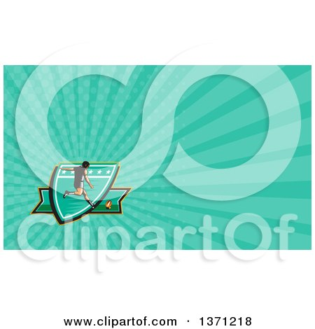 Clipart of a Retro Woodcut Male Rugby Player Kicking and Turquoise Rays Background or Business Card Design - Royalty Free Illustration by patrimonio