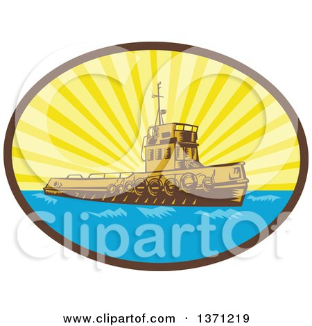 Clipart of a Retro Woodcut Tugboat in a Sunburst Oval - Royalty Free Vector Illustration by patrimonio