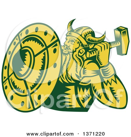 Clipart of a Retro Green and Yellow Woodcut Male Viking Warrior with a Hammer and Shield - Royalty Free Vector Illustration by patrimonio