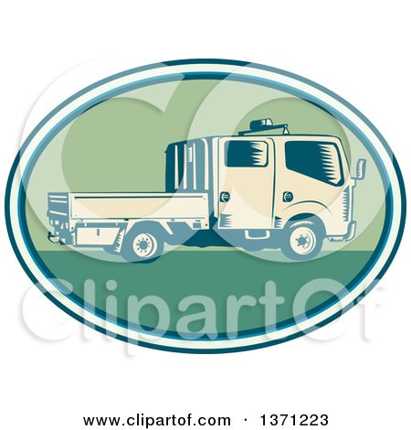 Clipart of a Retro Woodcut Double Cab Truck in an Oval - Royalty Free Vector Illustration by patrimonio