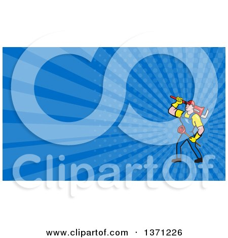 Cartoon White Male Plumber Carrying a Plunger and Monkey Wrench and Blue Rays Background or Business Card Design Posters, Art Prints