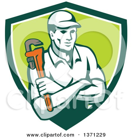 Clipart of a Retro Male Plumber Holding a Monkey Wrench, with Folded Arms in a Green and White Shield - Royalty Free Vector Illustration by patrimonio