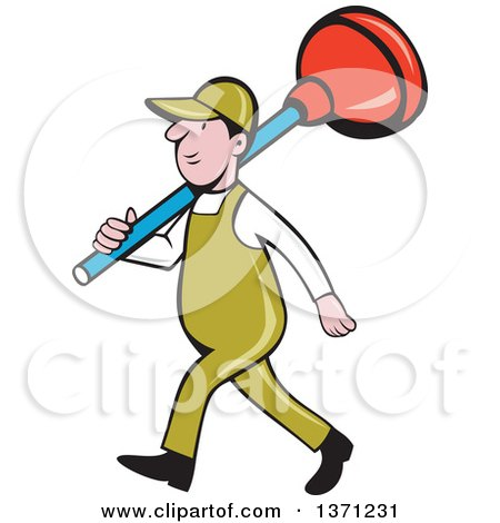 Clipart of a Retro Cartoon White Male Plumber Walking with a Giant Plunger over His Shoulders - Royalty Free Vector Illustration by patrimonio