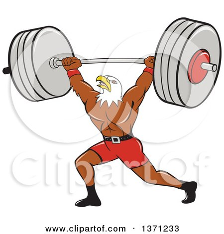 Clipart of a Cartoon Bald Eagle Man Bodybuilder Working out with a Barbell - Royalty Free Vector Illustration by patrimonio