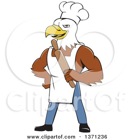 Clipart of a Cartoon Bald Eagle Man Chef Baker Holding a Rolling Pin - Royalty Free Vector Illustration by patrimonio