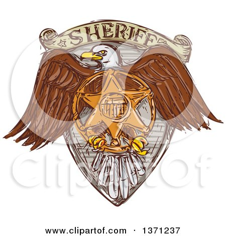 Clipart of a Sketched Bald Eagle Sheriff Badge Shield - Royalty Free Vector Illustration by patrimonio