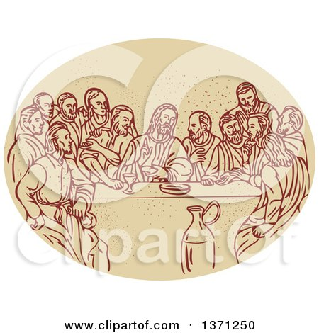 Clipart of a Sketched Scene of the Last Supper with Jesus and the Apostles in an Oval - Royalty Free Vector Illustration by patrimonio