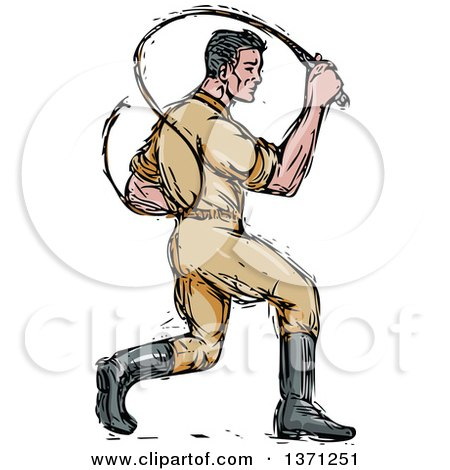 Clipart of a Sketched Male Lion Tamer Cracking a Bullwhip - Royalty Free Vector Illustration by patrimonio