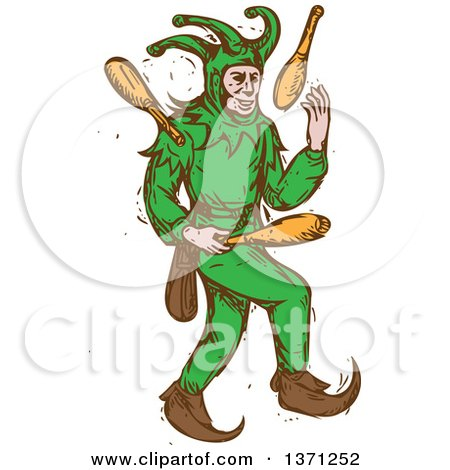 Clipart of a Sketched Medieval Jester Juggling - Royalty Free Vector Illustration by patrimonio