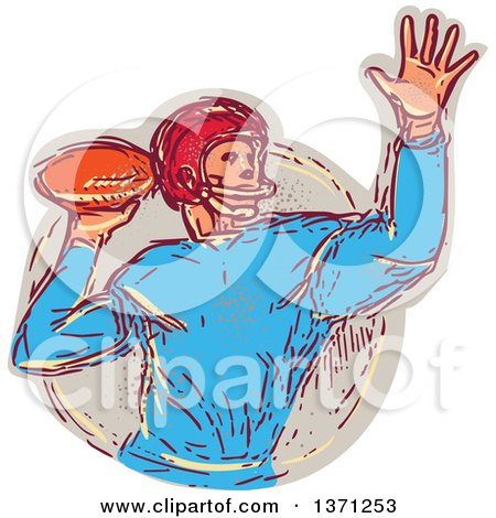 Clipart of a Sketched Quarterback Football Player Throwing - Royalty Free Vector Illustration by patrimonio