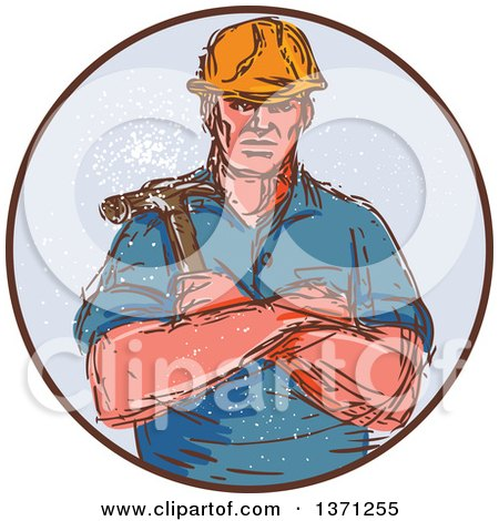 Retro Sketched Male Builder Holding a Hammer in a Circle Posters, Art Prints