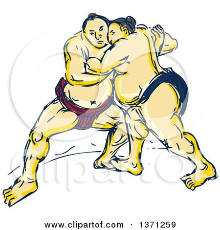 Clipart of a Sketch of Sumo Wrestlers in a Match - Royalty Free Vector Illustration by patrimonio