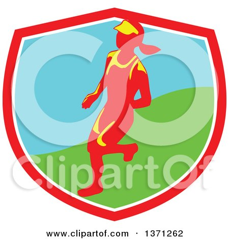 Clipart of a Retro Female Marathon Runner in a Shield - Royalty Free Vector Illustration by patrimonio