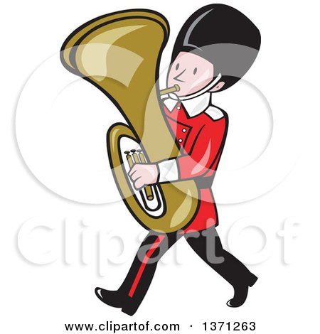 Clipart of a Cartoon Marching Band Member Playing a Tuba - Royalty Free Vector Illustration by patrimonio
