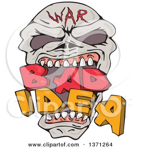 Clipart of a War Skull Biting Bad Idea Text - Royalty Free Vector Illustration by patrimonio