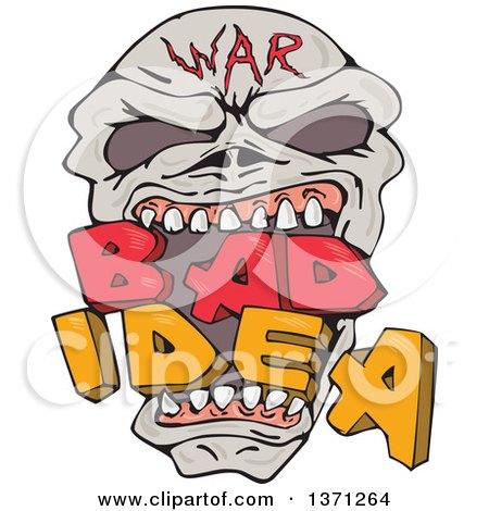 War Skull Biting Bad Idea Text Posters, Art Prints