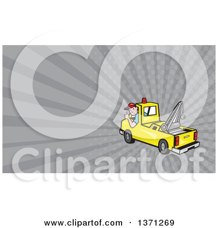 Clipart of a Cartoon Tow Truck and Driver and Gray Rays Background or Business Card Design - Royalty Free Illustration by patrimonio