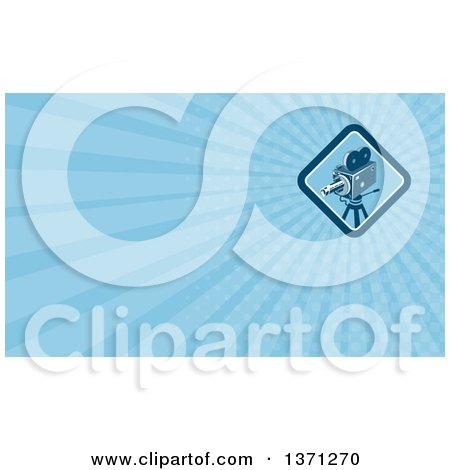 Clipart of a Movie Camera and Blue Rays Background or Business Card Design - Royalty Free Illustration by patrimonio