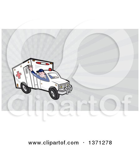 Clipart of a Cartoon Ambulance Driver Waving and Gray Rays Background or Business Card Design - Royalty Free Illustration by patrimonio