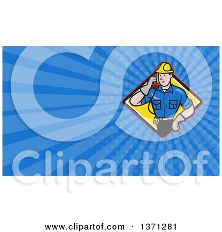 Clipart of a Cartoon White Telephone Service Repair Man Holding a Receiver and Blue Rays Background or Business Card Design - Royalty Free Illustration by patrimonio