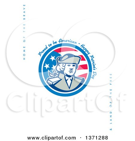 Clipart of a Greeting Card Design with a Patriot and Proud to Be American, Happy Patriot's Day, Home of the Brave&Land of the Free Text on White - Royalty Free Illustration by patrimonio