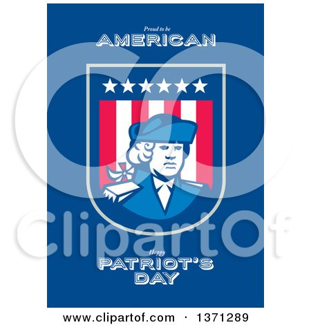 Clipart of a Greeting Card Design with an American Patriot Soldier and Roud to Be American, Happy Patriot's Day Text on Blue - Royalty Free Illustration by patrimonio