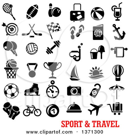 Clipart of Black and White Sports and Travel Icons over Text - Royalty Free Vector Illustration by Vector Tradition SM