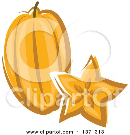 Clipart of a Cartoon Carambola Starfruit and Slice - Royalty Free Vector Illustration by Vector Tradition SM