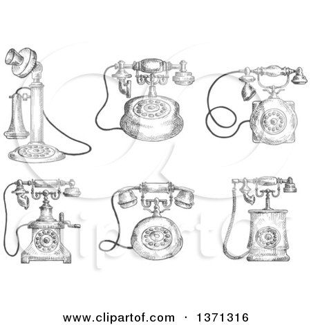 Clipart of Sketched Grayscale Vintage Telephones - Royalty Free Vector Illustration by Vector Tradition SM