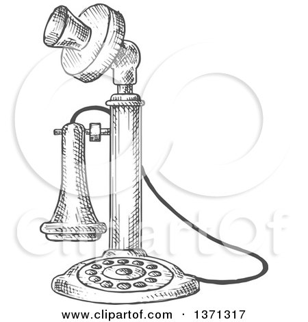 Clipart of a Sketched Grayscale Vintage Telephone - Royalty Free Vector Illustration by Vector Tradition SM