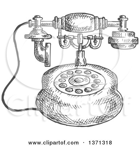 Clipart Of A Sketched Grayscale Vintage Telephone