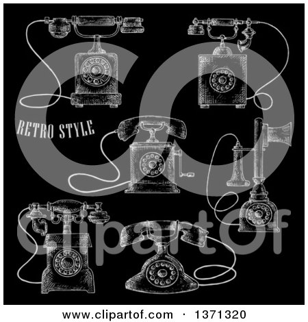 Clipart of Sketched Vintage Telephones on Black - Royalty Free Vector Illustration by Vector Tradition SM