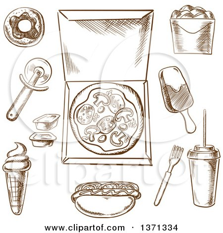 Clipart of Brown Sketched Pizza and Other Foods - Royalty Free Vector Illustration by Vector Tradition SM