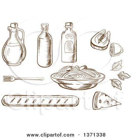 Clipart of a Brown Sketched Spaghetti, Sauce and Basil Encircled by Bottles of Olive Oil, Tomato and Mustard Sauces, Fork, Cheese, Ciabatta Bread and Salmon Fish with Lemon - Royalty Free Vector Illustration by Vector Tradition SM